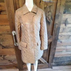 LOFT Tan iridescent quilted 3/4 winter coat